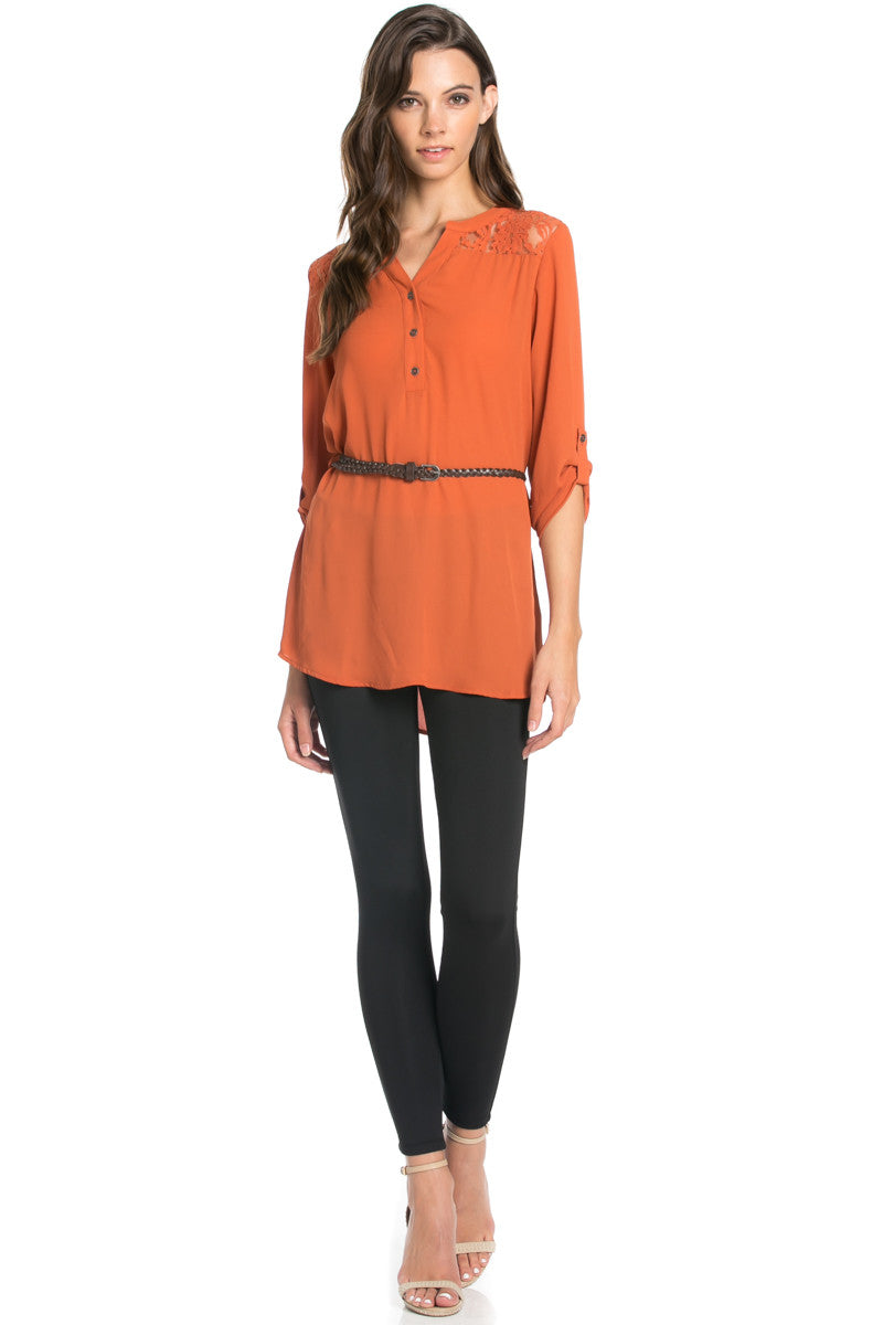 Belted Lace Trim Tunic Top in Rust - Tops - My Yuccie - 4