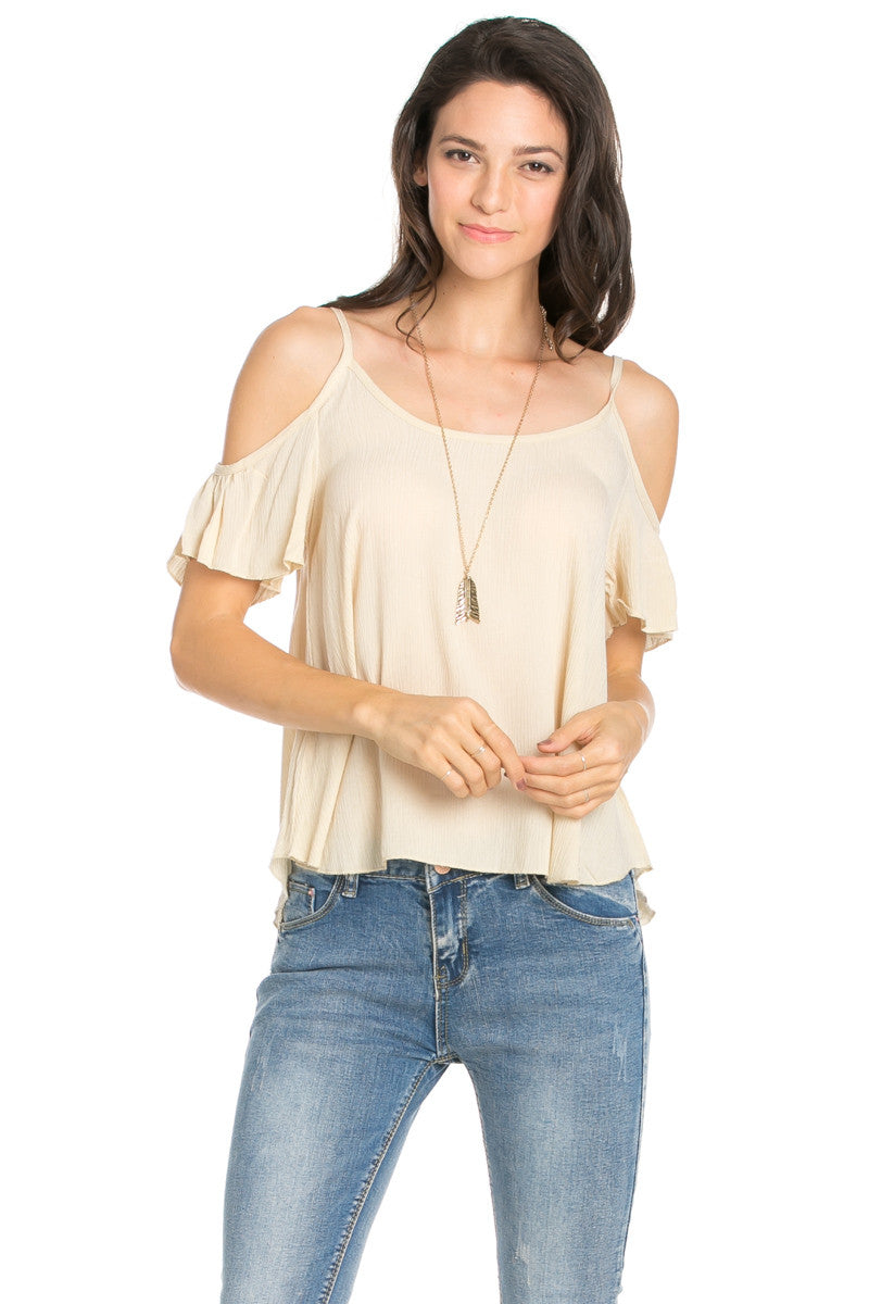Flowy Ivory Cold Shoulder Top - Shirts - My Yuccie - 6