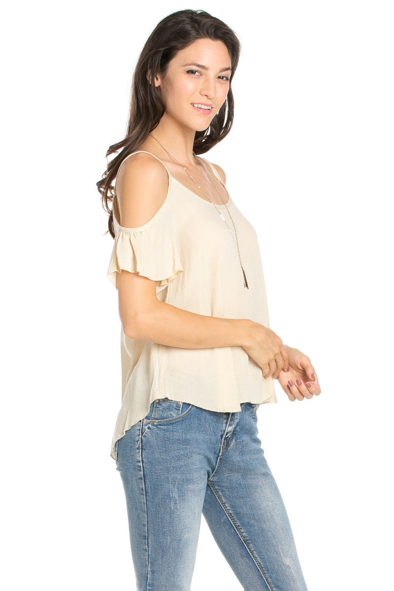 Flowy Black Cold Shoulder Top - Shirts - My Yuccie - 8