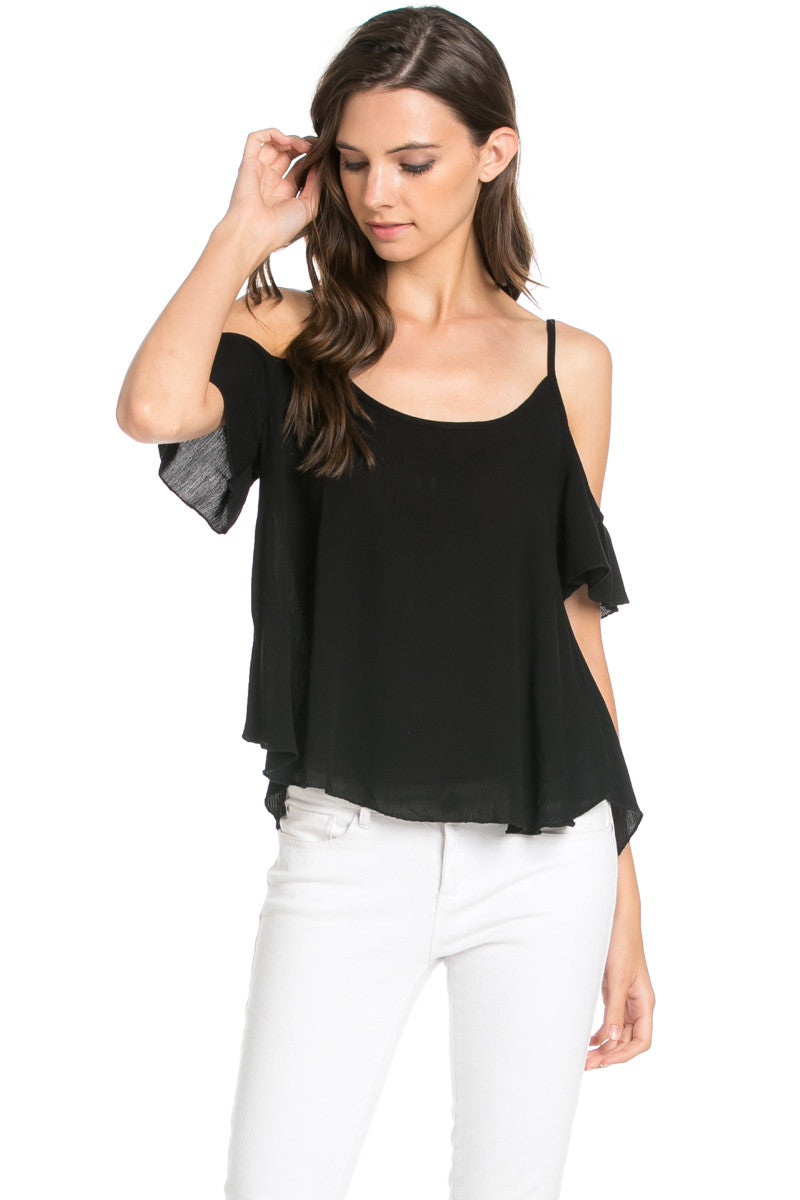 Flowy Beige Cold Shoulder Top - Shirts - My Yuccie - 6