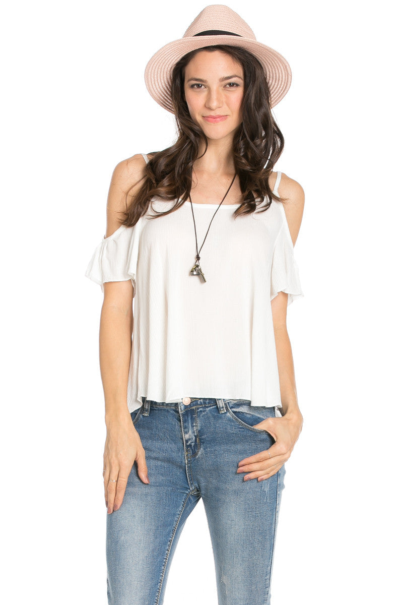 Flowy Light Blue Cold Shoulder Top - Shirts - My Yuccie - 10
