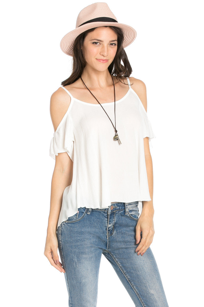 Flowy Beige Cold Shoulder Top - Shirts - My Yuccie - 8