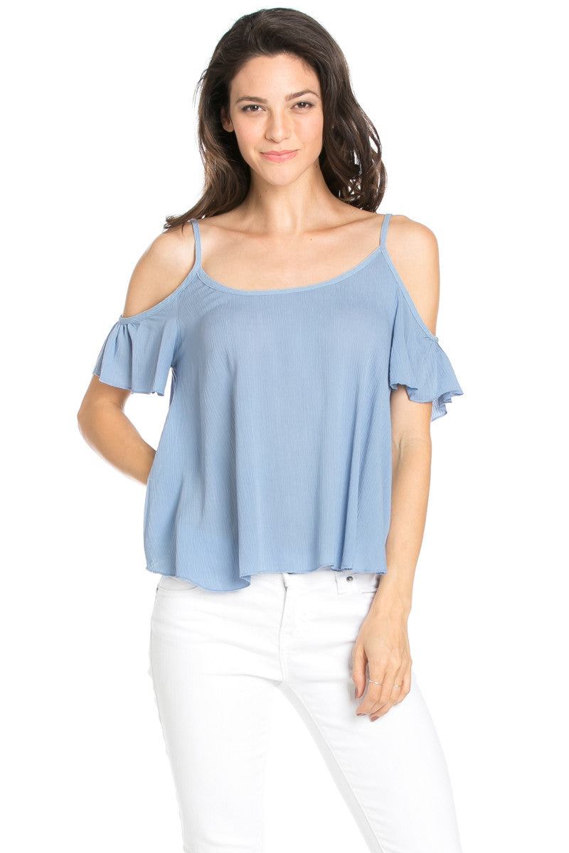 Flowy Ivory Cold Shoulder Top - Shirts - My Yuccie - 8
