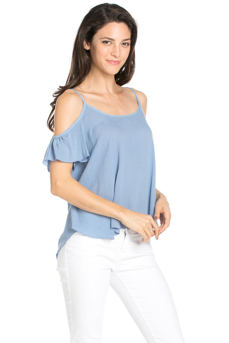 Flowy Beige Cold Shoulder Top - Shirts - My Yuccie - 7