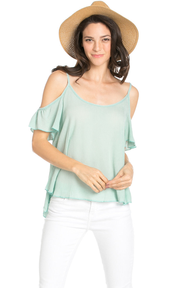 Flowy Beige Cold Shoulder Top - Shirts - My Yuccie - 10