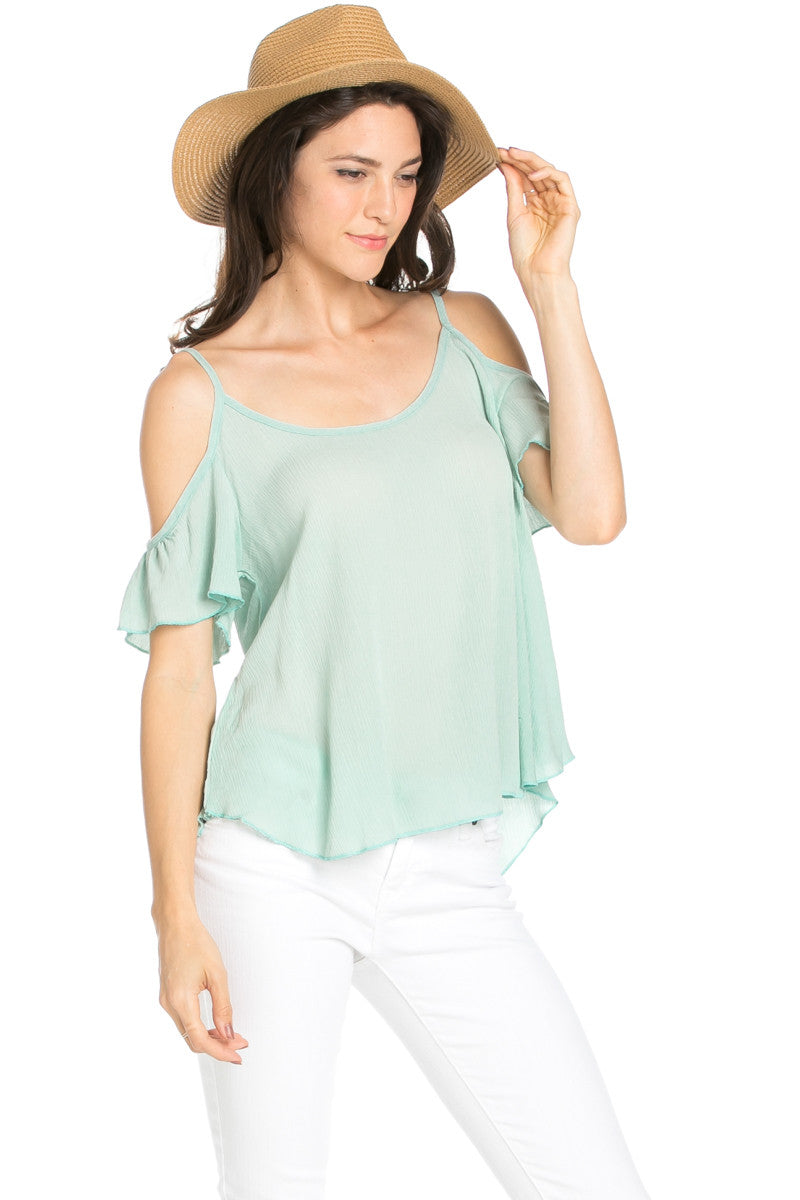 Flowy Light Blue Cold Shoulder Top - Shirts - My Yuccie - 6