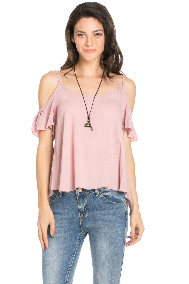 Flowy Black Cold Shoulder Top - Shirts - My Yuccie - 6