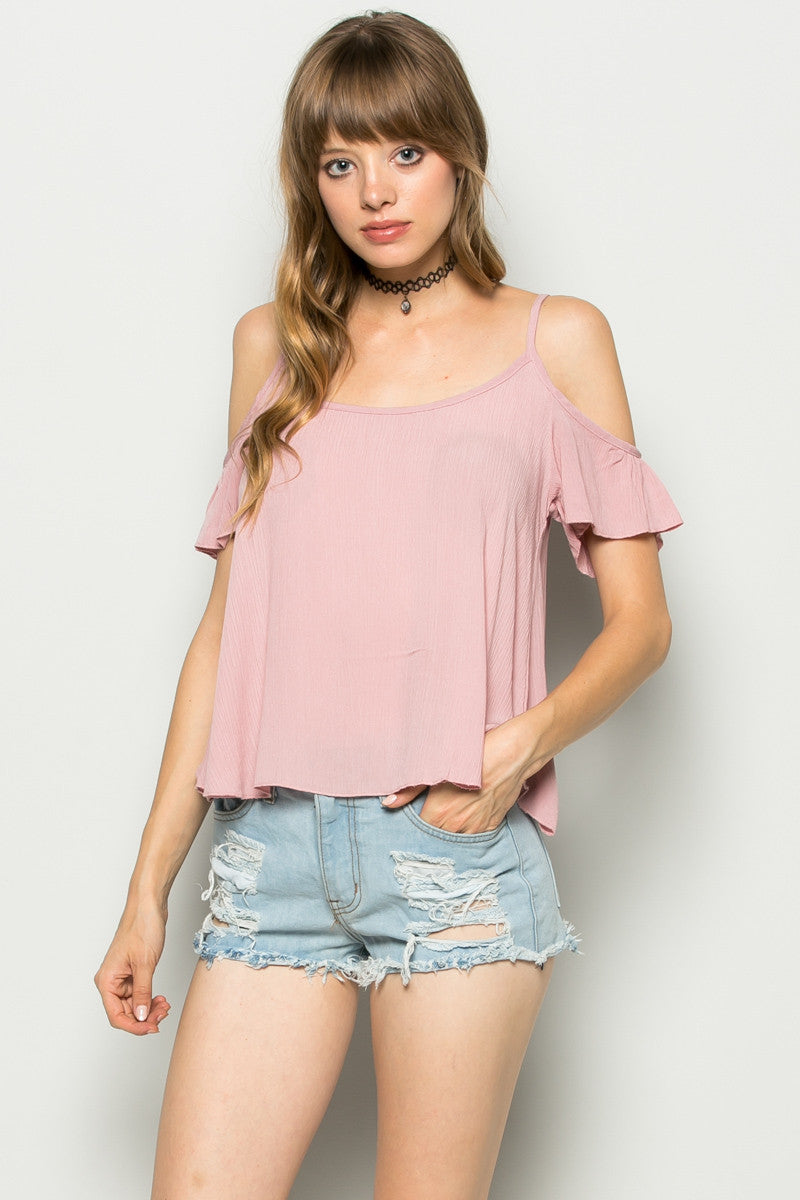 Flowy Pink Cold Shoulder Top - Shirts - My Yuccie - 2