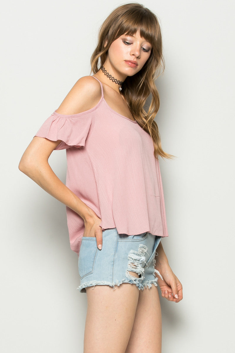Flowy Pink Cold Shoulder Top - Shirts - My Yuccie - 3