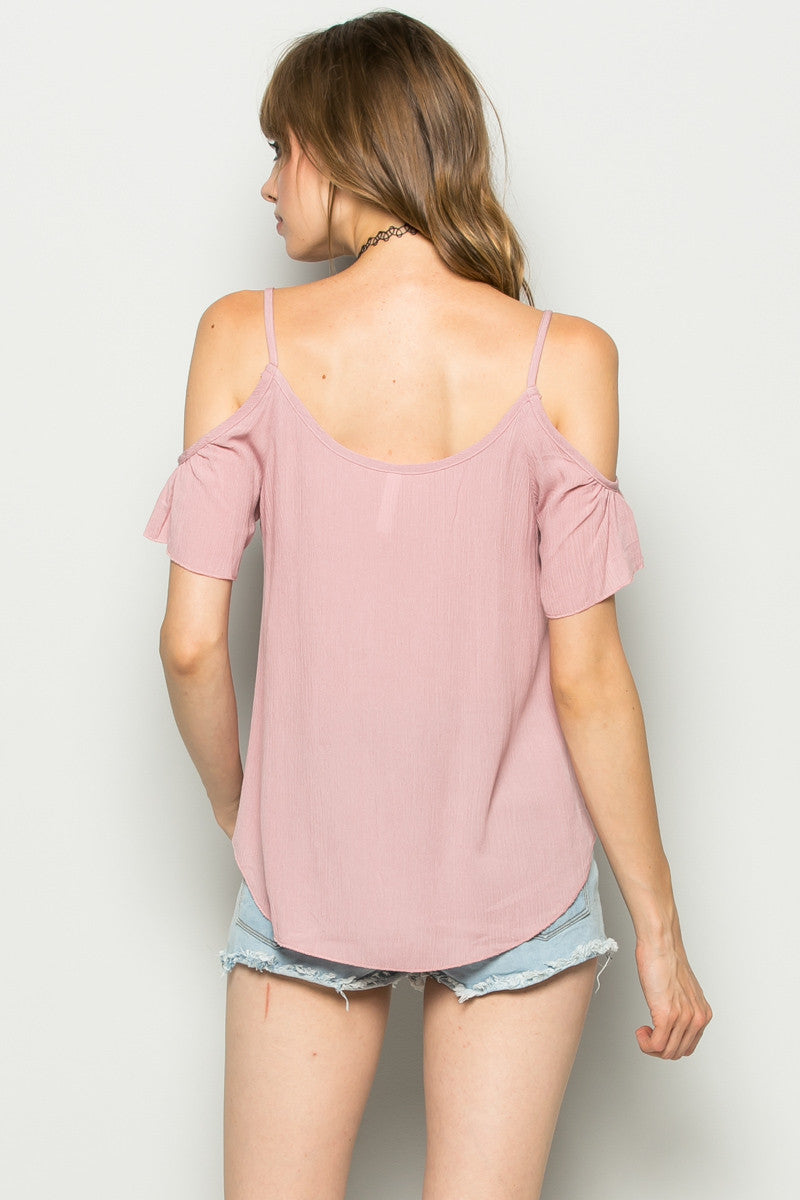 Flowy Pink Cold Shoulder Top - Shirts - My Yuccie - 4