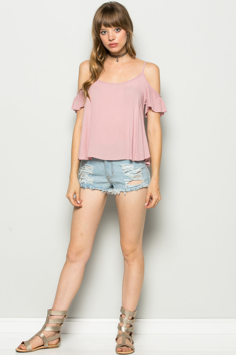 Flowy Pink Cold Shoulder Top - Shirts - My Yuccie - 5