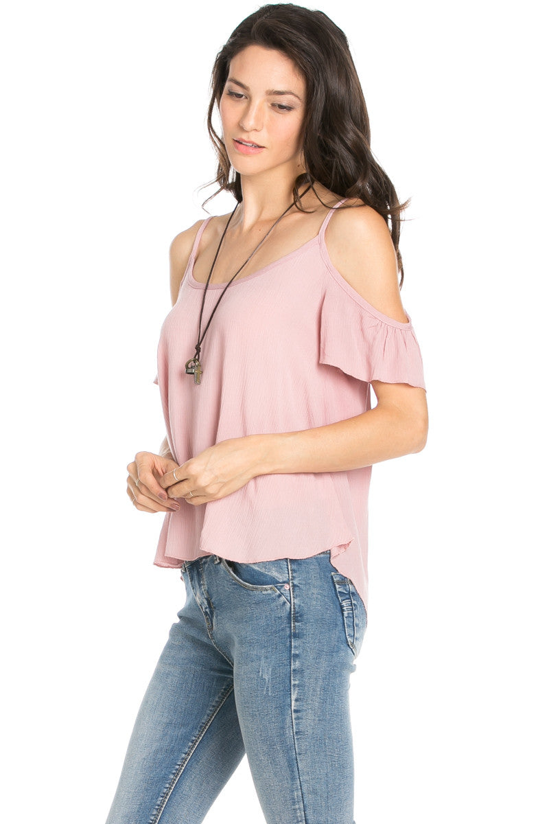 Flowy Beige Cold Shoulder Top - Shirts - My Yuccie - 9