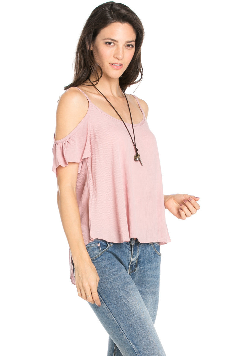 Flowy Ivory Cold Shoulder Top - Shirts - My Yuccie - 10