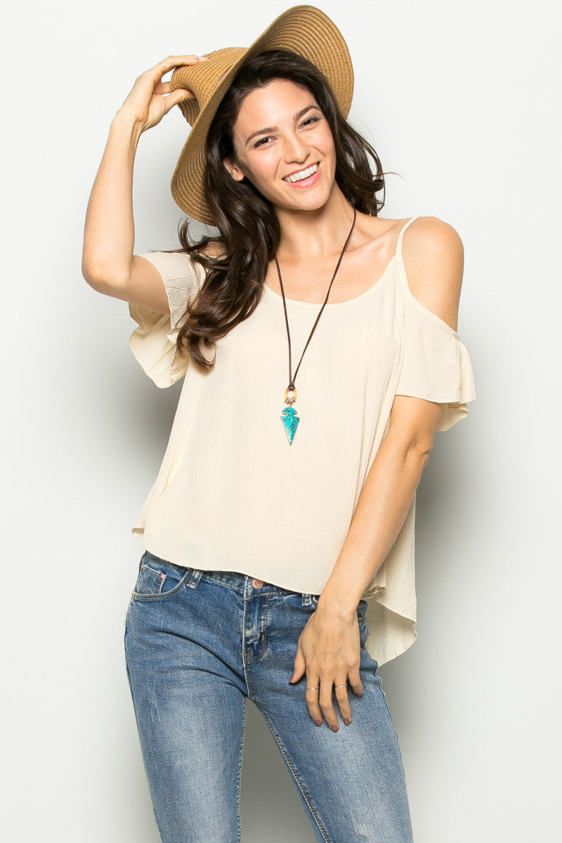 Flowy Beige Cold Shoulder Top - Shirts - My Yuccie - 1