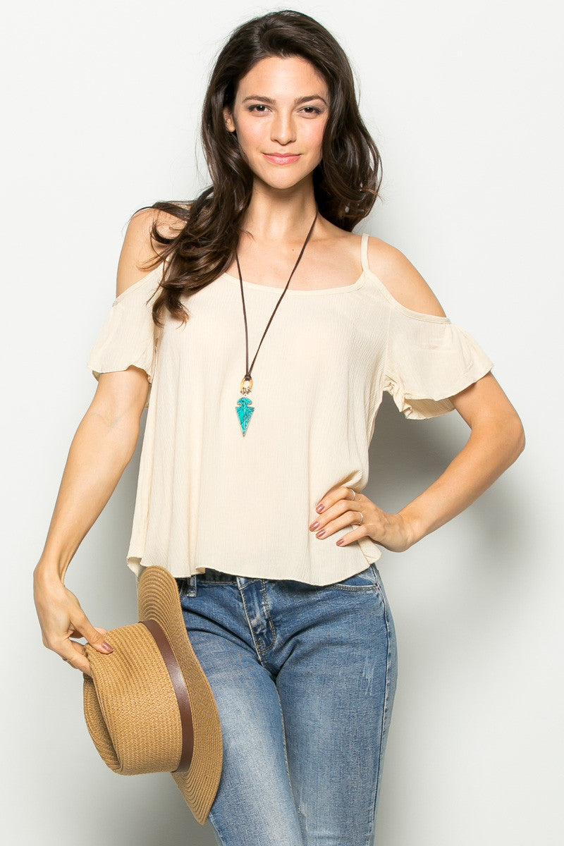 Flowy Beige Cold Shoulder Top - Shirts - My Yuccie - 2