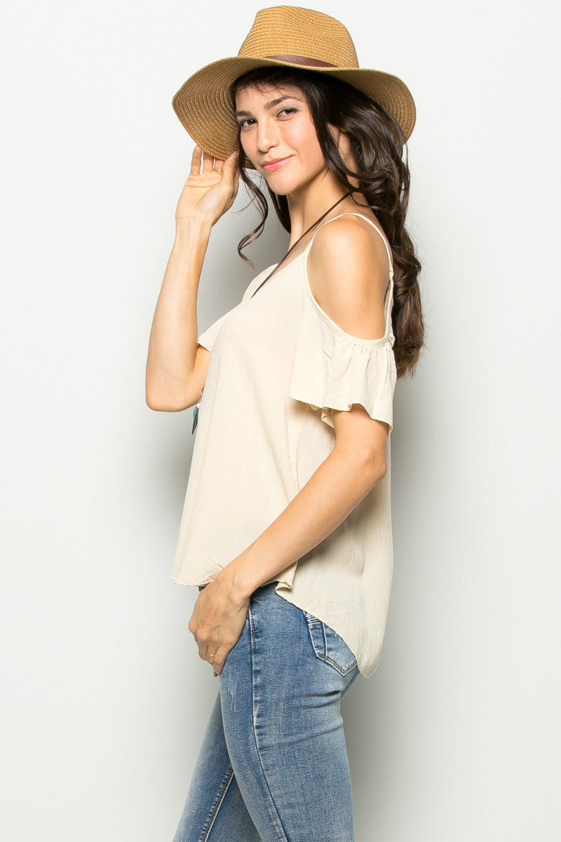 Flowy Beige Cold Shoulder Top - Shirts - My Yuccie - 3