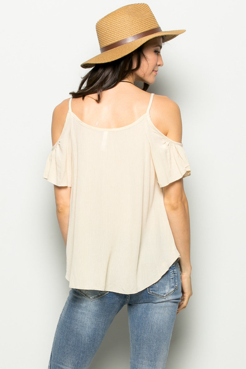Flowy Beige Cold Shoulder Top - Shirts - My Yuccie - 4