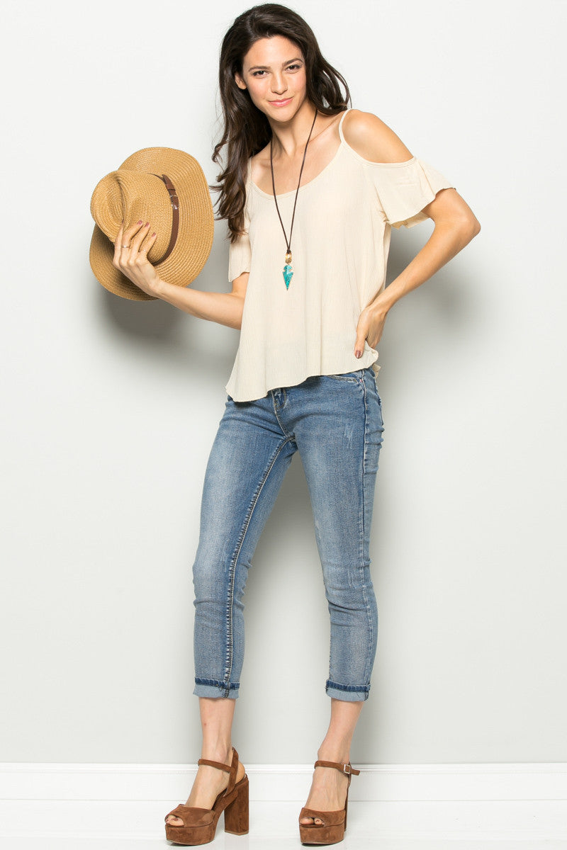 Flowy Beige Cold Shoulder Top - Shirts - My Yuccie - 5
