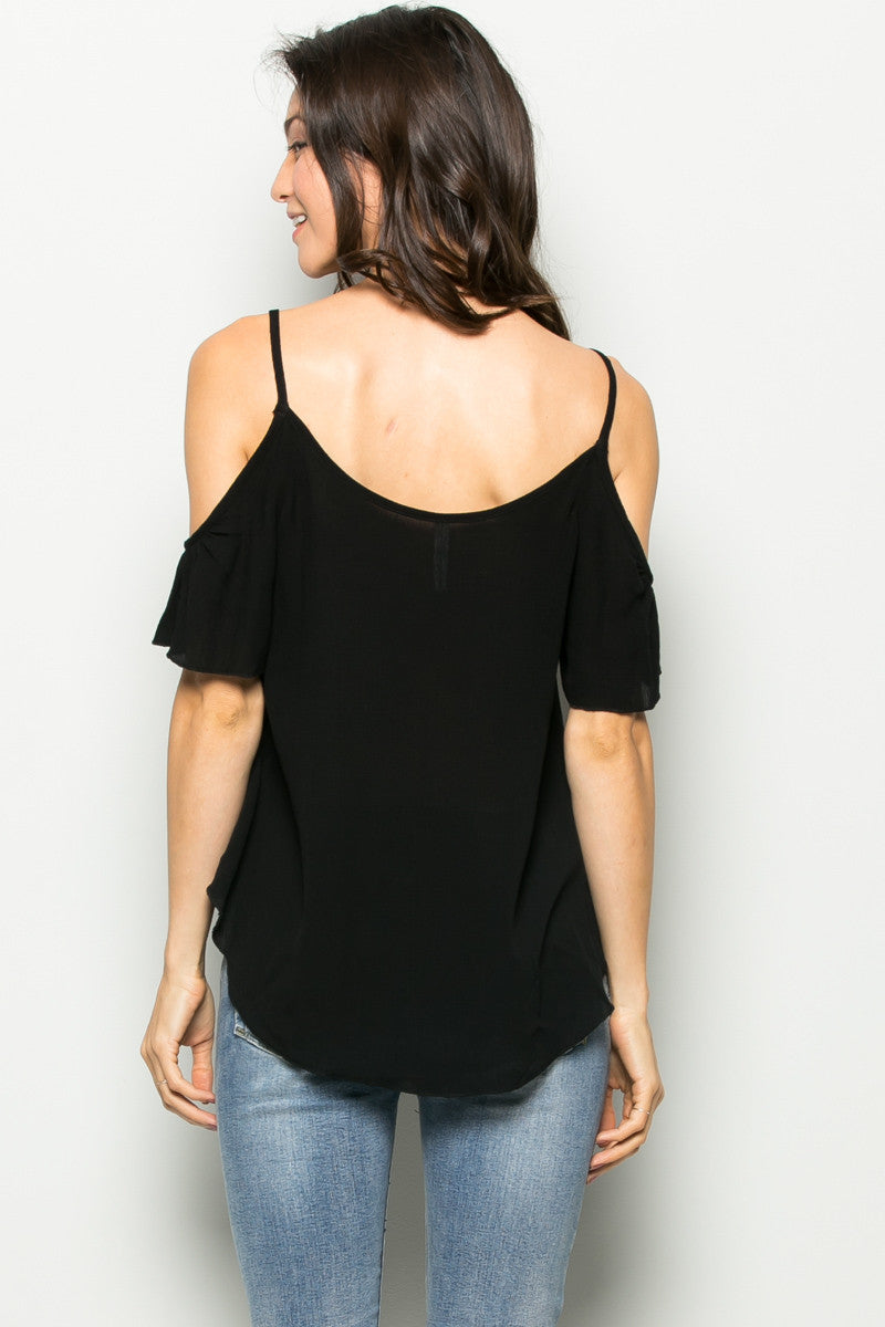 Flowy Black Cold Shoulder Top - Shirts - My Yuccie - 3