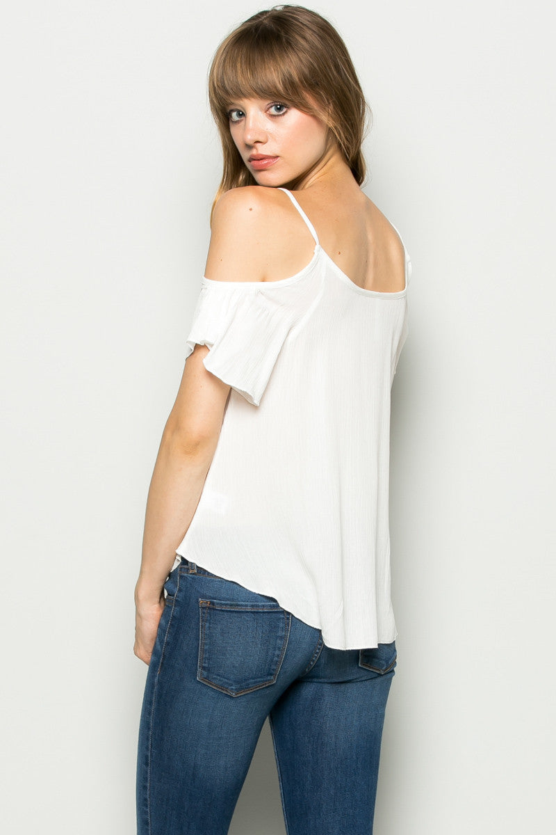 Flowy Ivory Cold Shoulder Top - Shirts - My Yuccie - 4