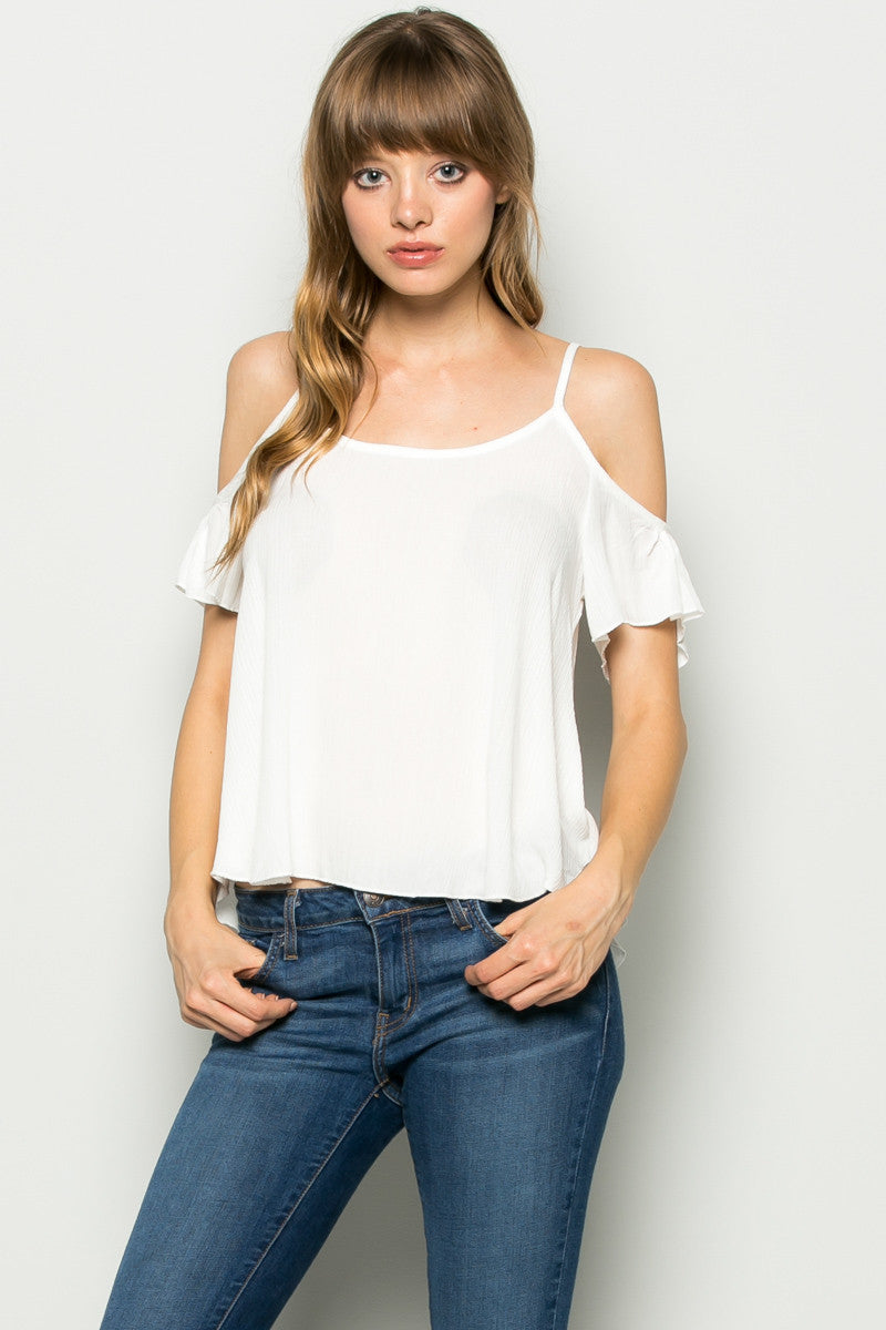 Flowy Ivory Cold Shoulder Top - Shirts - My Yuccie - 3