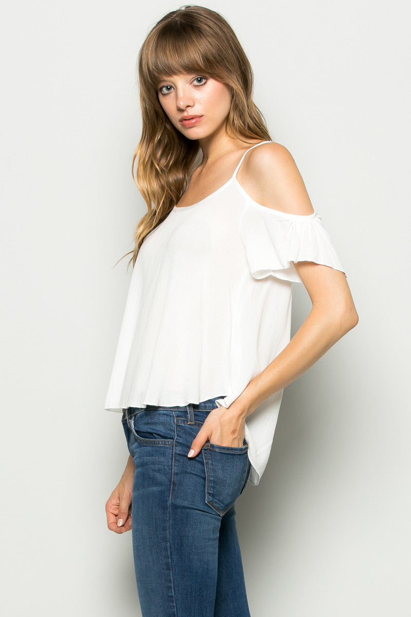 Flowy Ivory Cold Shoulder Top - Shirts - My Yuccie - 2