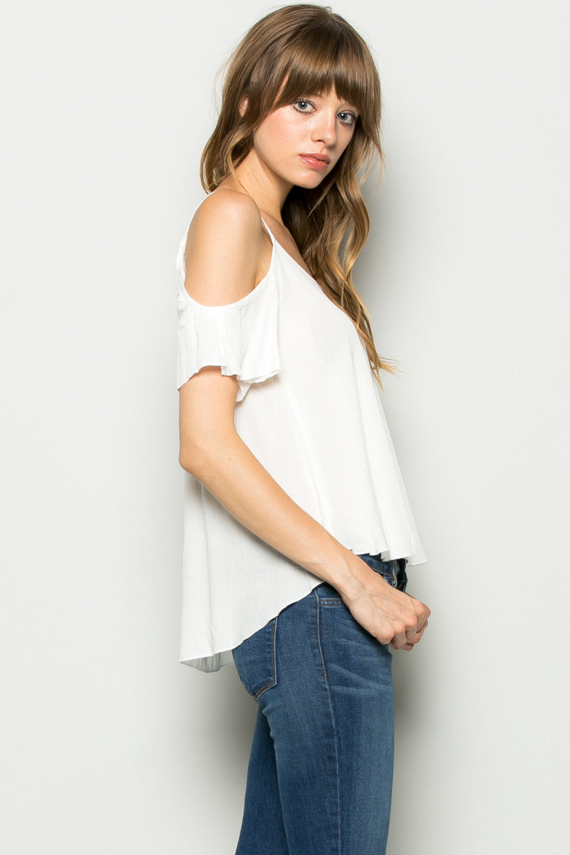 Flowy Ivory Cold Shoulder Top - Shirts - My Yuccie - 1