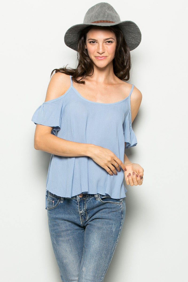 Flowy Light Blue Cold Shoulder Top - Shirts - My Yuccie - 3