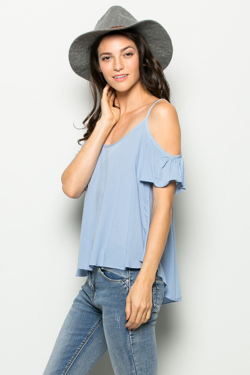 Flowy Light Blue Cold Shoulder Top - Shirts - My Yuccie - 1