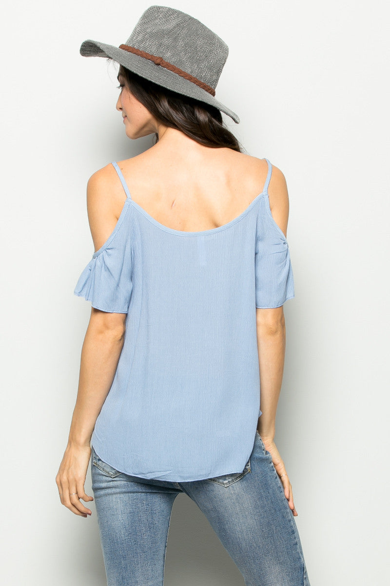 Flowy Light Blue Cold Shoulder Top - Shirts - My Yuccie - 4