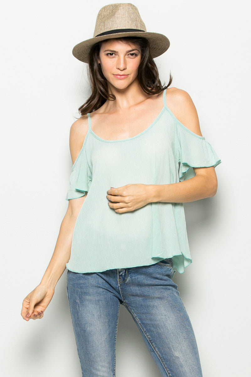 Flowy Mint Cold Shoulder Top - Shirts - My Yuccie - 2