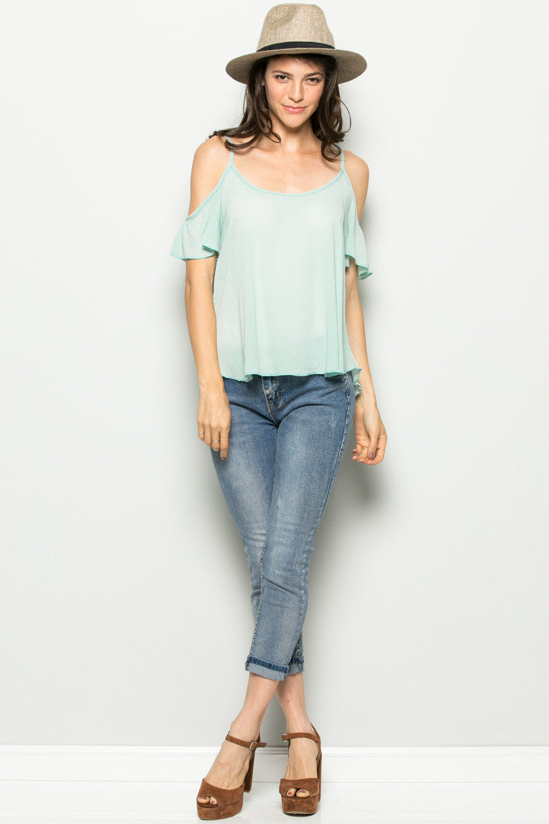 Flowy Mint Cold Shoulder Top - Shirts - My Yuccie - 4