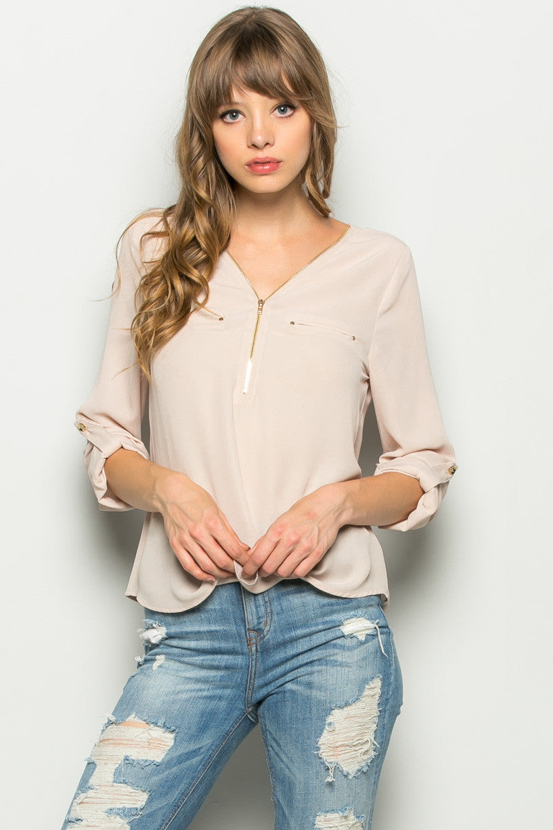 Beige Zipper Neck Roll Sleeve Chiffon Blouse - Shirts - My Yuccie - 2