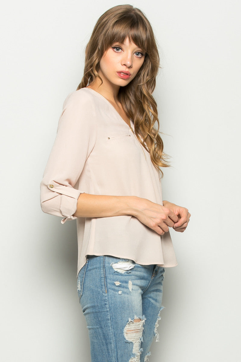 Plum Zipper Neck Roll Sleeve Chiffon Blouse - Shirts - My Yuccie - 7