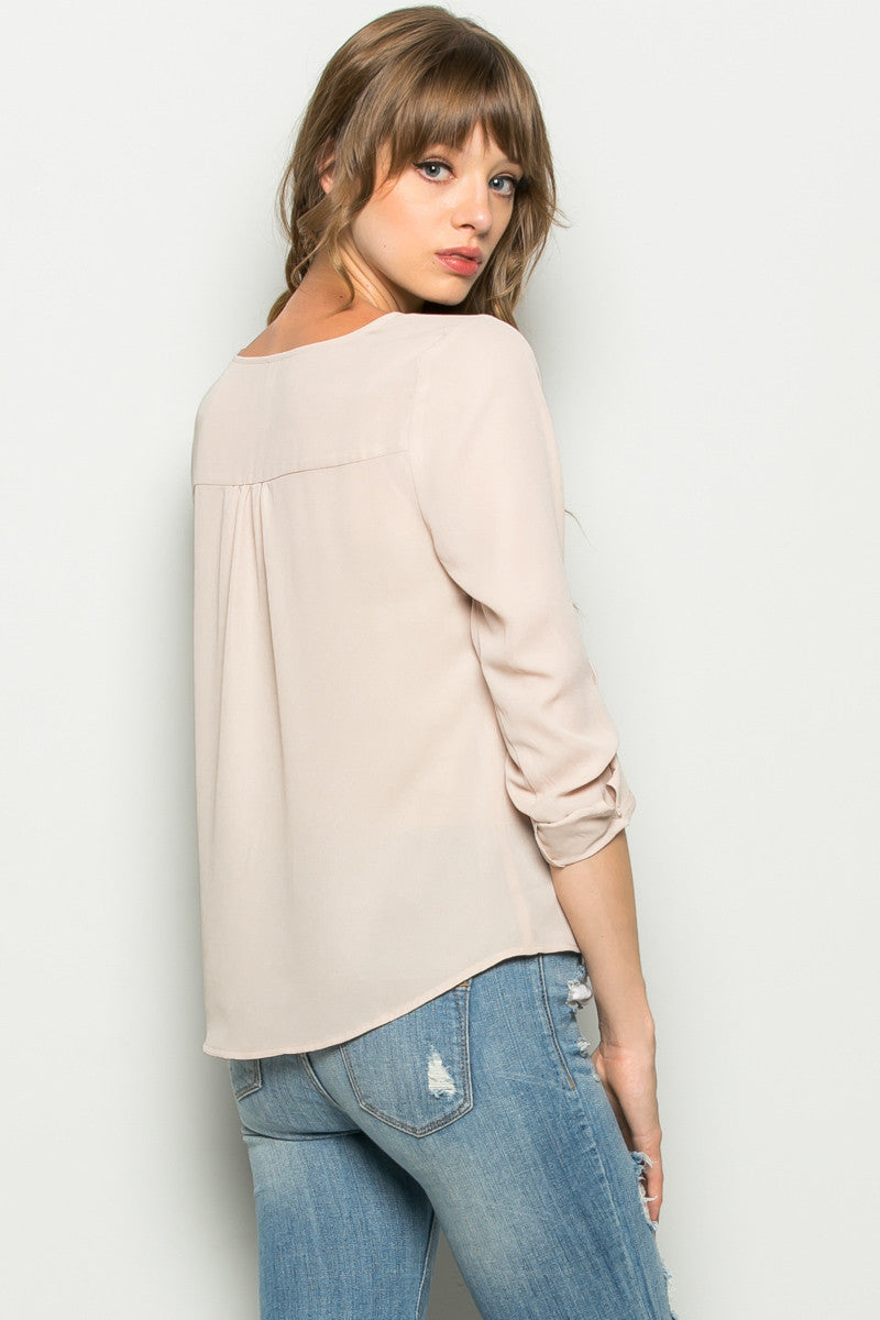 Beige Zipper Neck Roll Sleeve Chiffon Blouse - Shirts - My Yuccie - 3