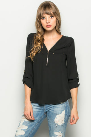 Black Zipper Neck Roll Sleeve Chiffon Blouse - Shirts - My Yuccie - 1