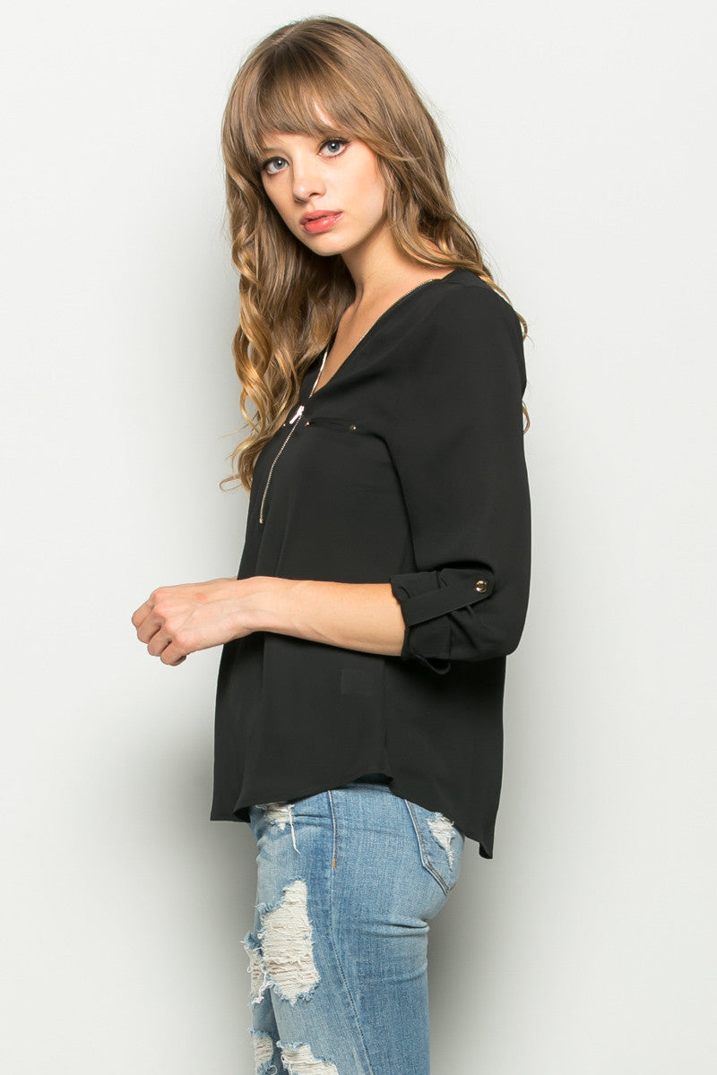 Black Zipper Neck Roll Sleeve Chiffon Blouse - Shirts - My Yuccie - 2