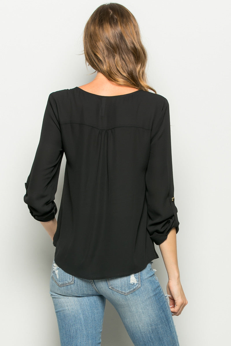 Black Zipper Neck Roll Sleeve Chiffon Blouse - Shirts - My Yuccie - 3