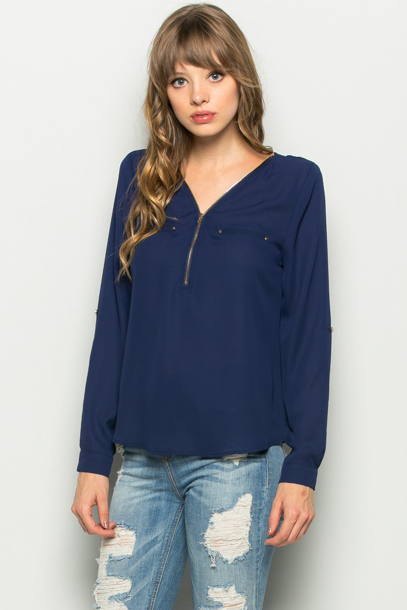 Navy Zipper Neck Roll Sleeve Chiffon Blouse - Shirts - My Yuccie - 2