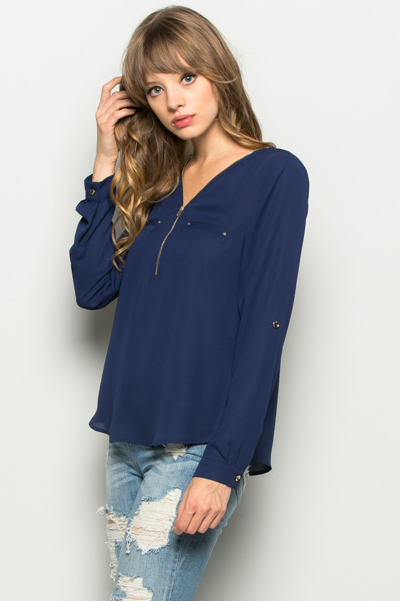 Navy Zipper Neck Roll Sleeve Chiffon Blouse - Shirts - My Yuccie - 1