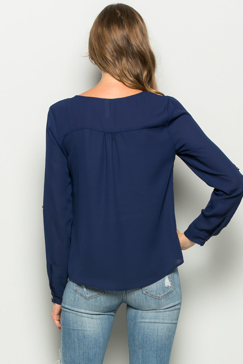 Navy Zipper Neck Roll Sleeve Chiffon Blouse - Shirts - My Yuccie - 3