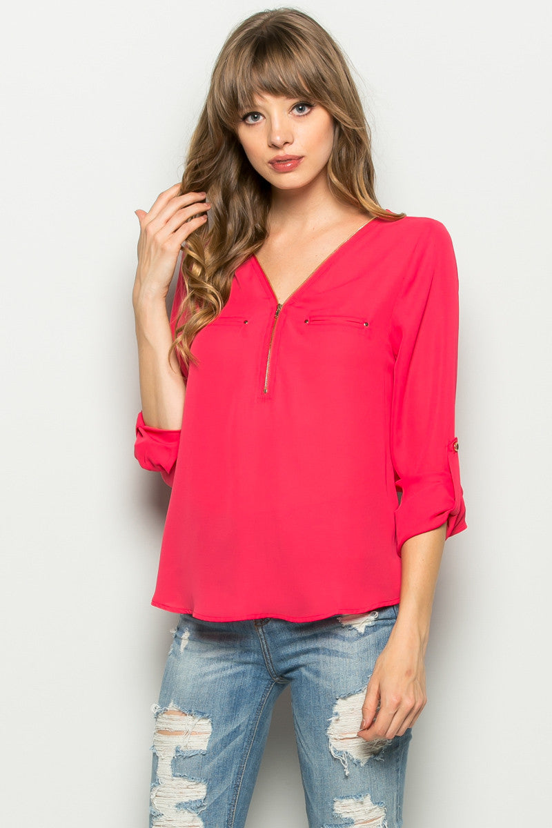 Plum Zipper Neck Roll Sleeve Chiffon Blouse - Shirts - My Yuccie - 9