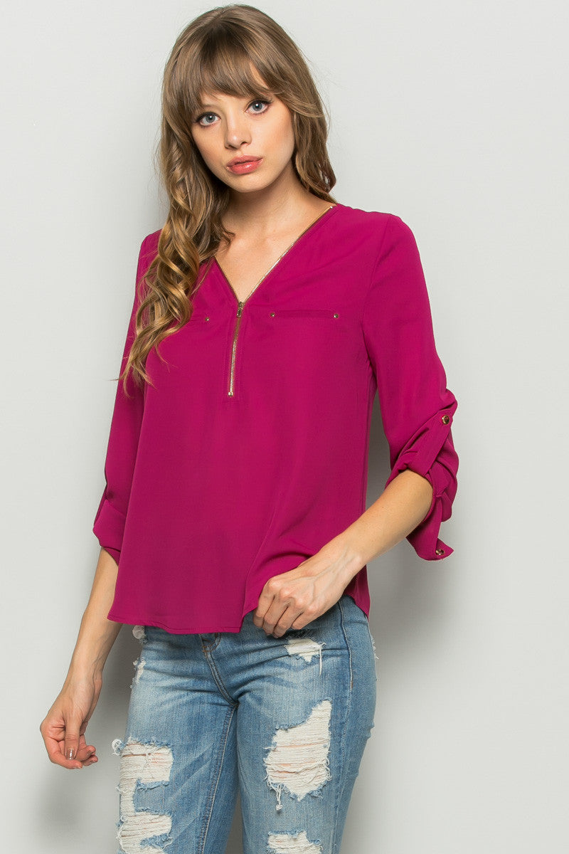 Plum Zipper Neck Roll Sleeve Chiffon Blouse - Shirts - My Yuccie - 2