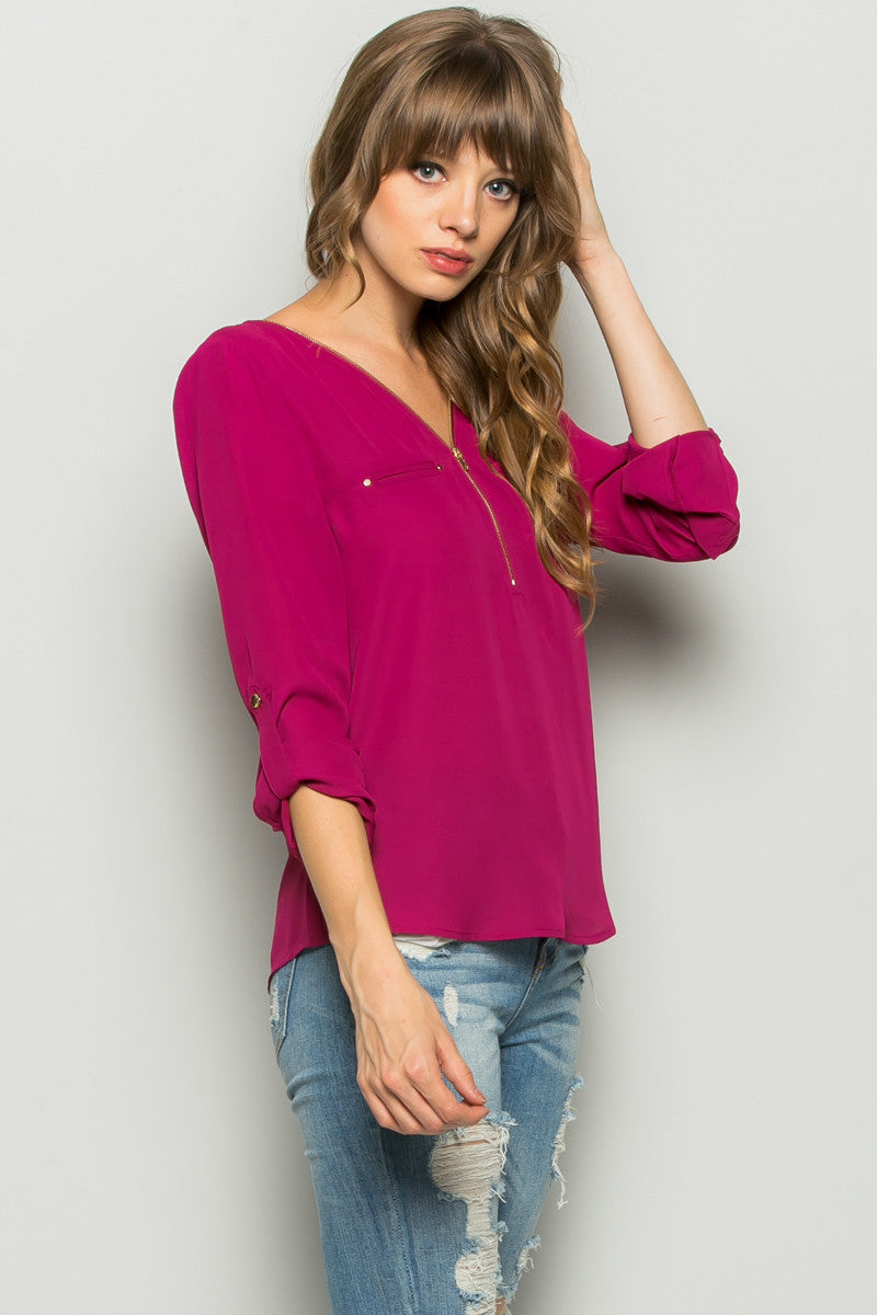 Plum Zipper Neck Roll Sleeve Chiffon Blouse - Shirts - My Yuccie - 1