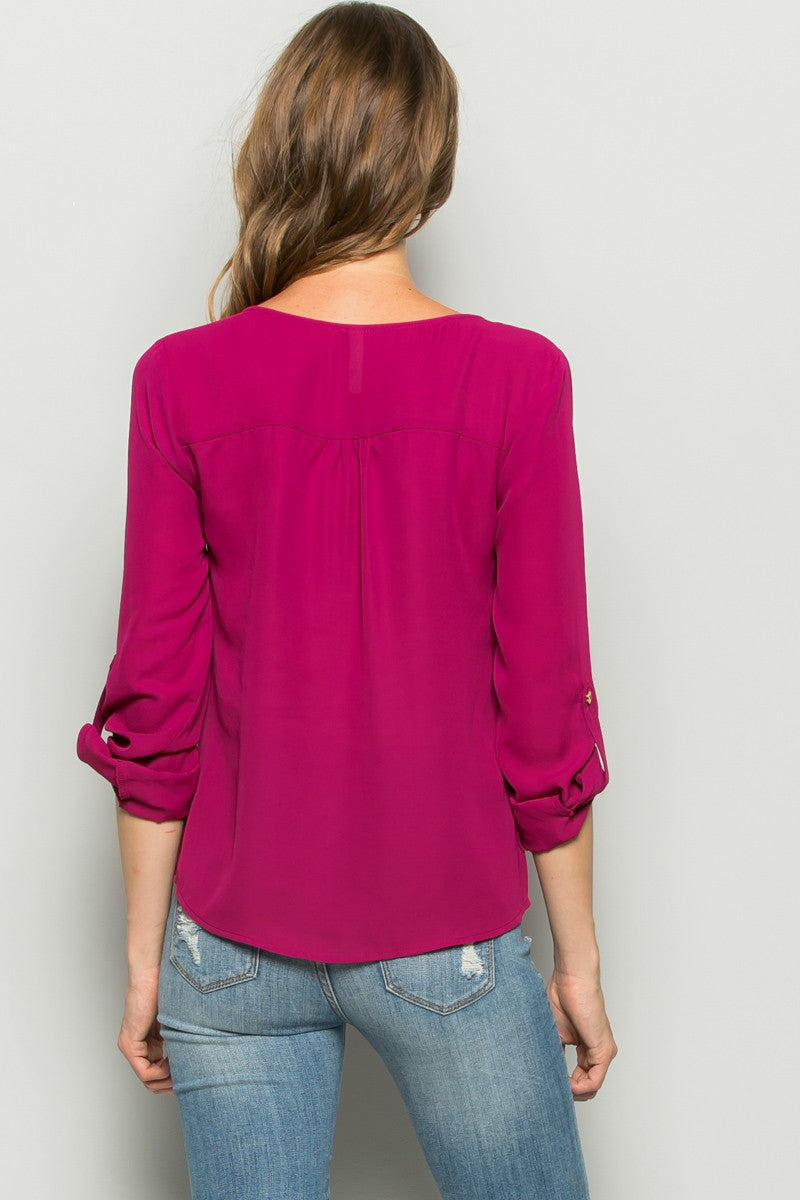 Plum Zipper Neck Roll Sleeve Chiffon Blouse - Shirts - My Yuccie - 3