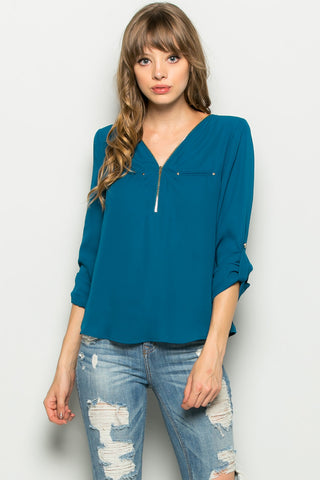 Teal Zipper Neck Roll Sleeve Chiffon Blouse - Shirts - My Yuccie - 1