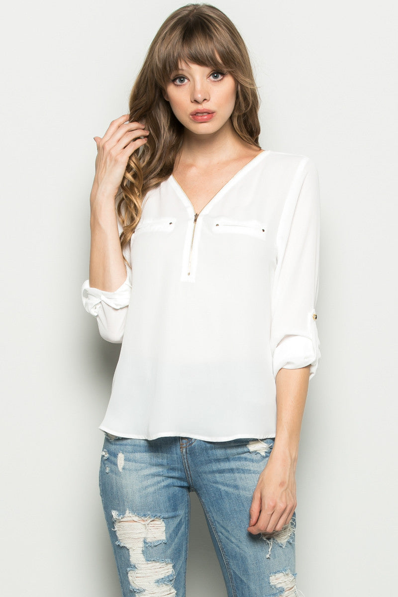 Beige Zipper Neck Roll Sleeve Chiffon Blouse - Shirts - My Yuccie - 10