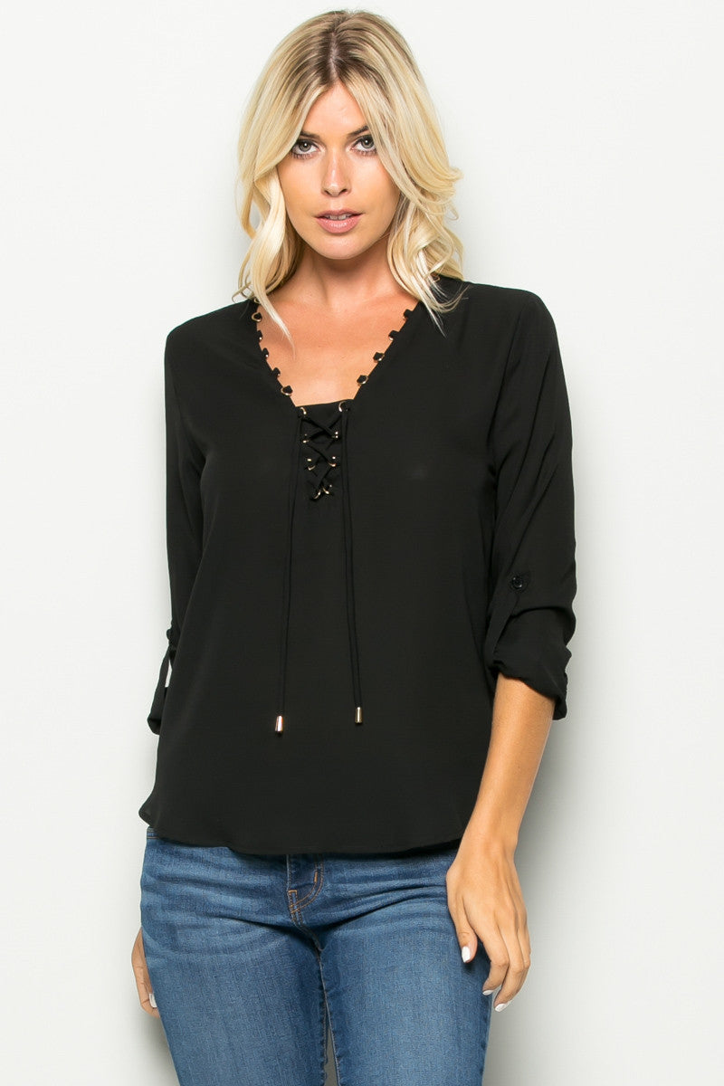 Black Corset Lace Up Neckline Chiffon Top - Tops - My Yuccie - 2