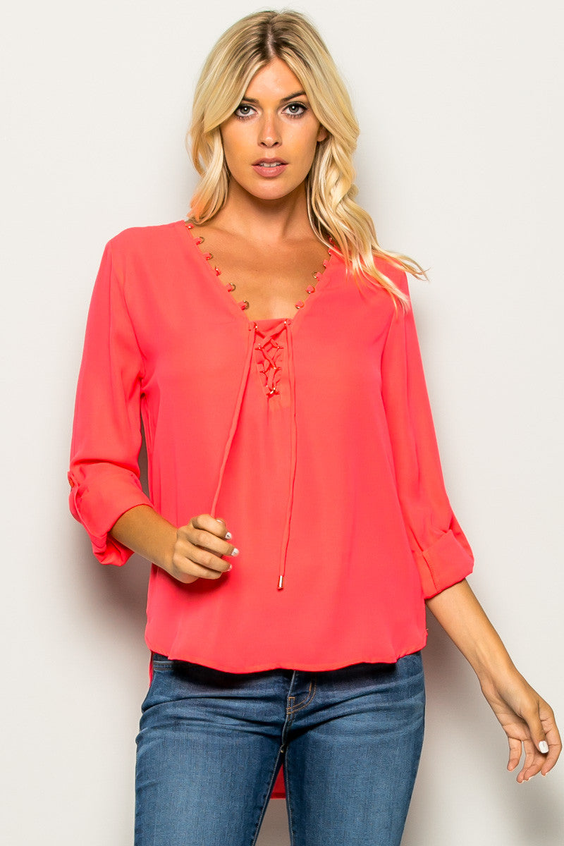 b468730854c Hot Pink Corset Lace Up Neckline Chiffon Top - Tops - My Yuccie - 1