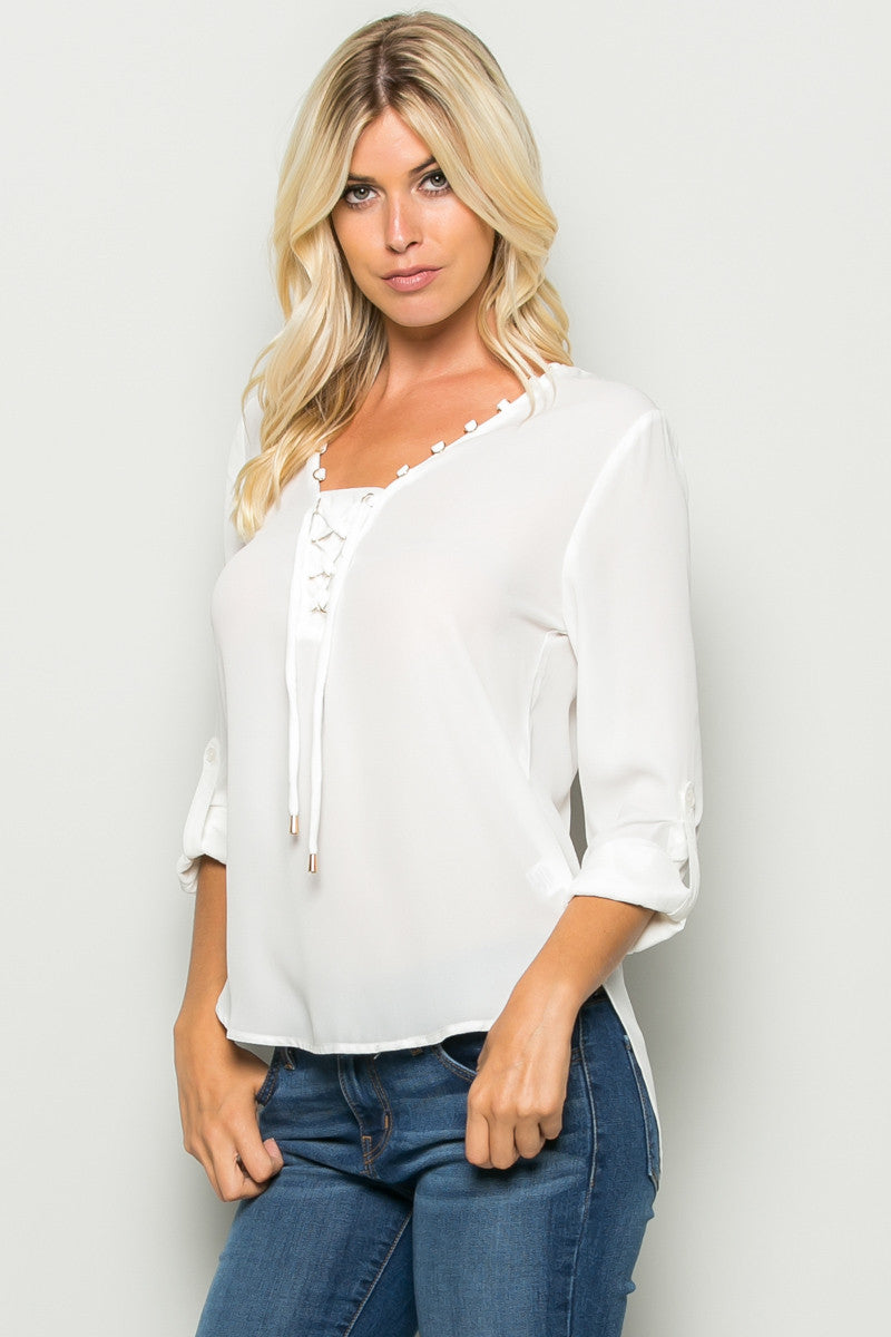 Ivory Corset Lace Up Neckline Chiffon Top - Tops - My Yuccie - 2